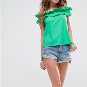 ASOS Kelly Green Ruffle Off The Shoulder Top!!